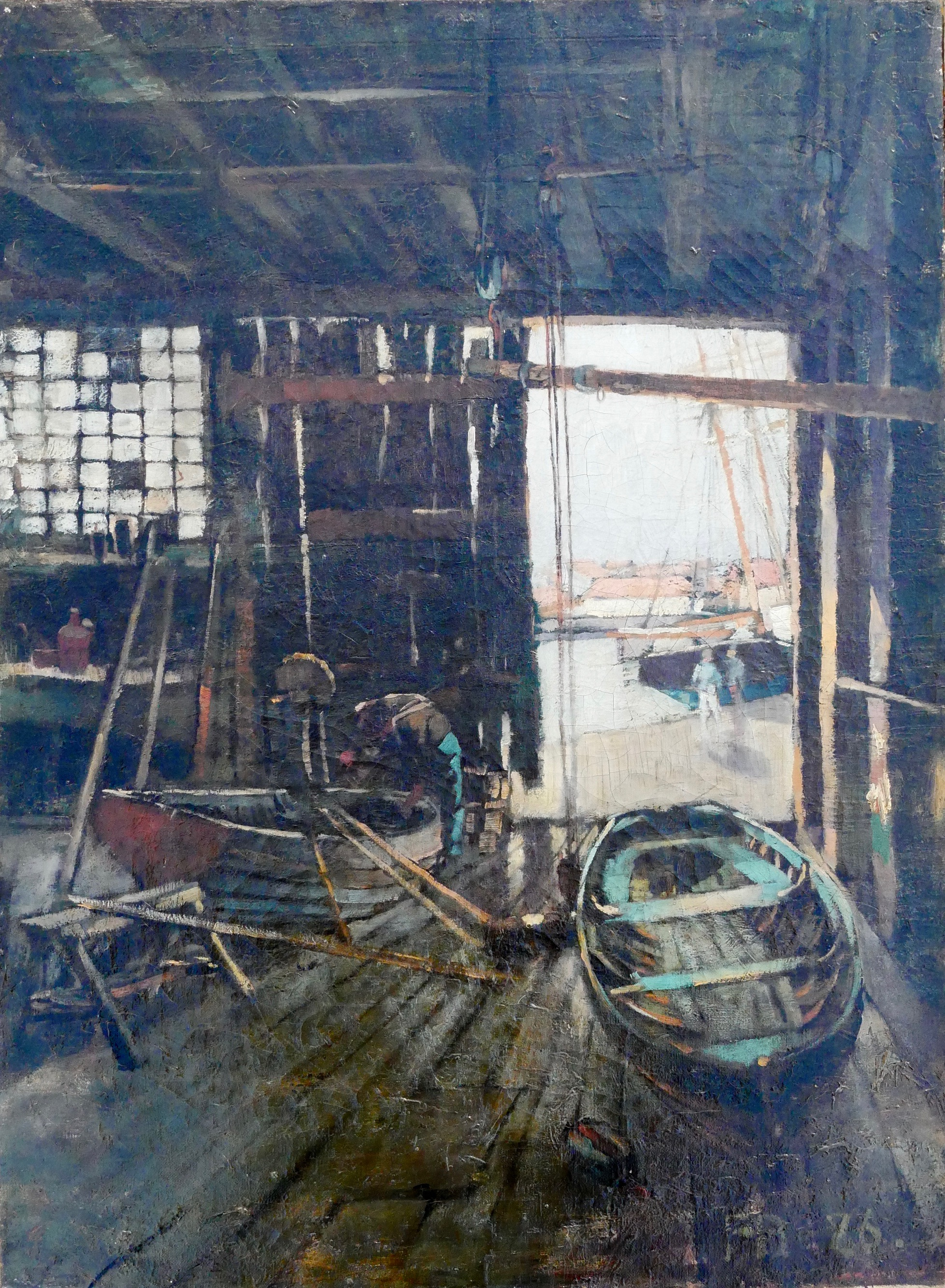 sir frank brangwyn boatshed the canon gallery british 19th 19th 20th modern british european victorian oil watercolour watercolor art dealer uk london oundle